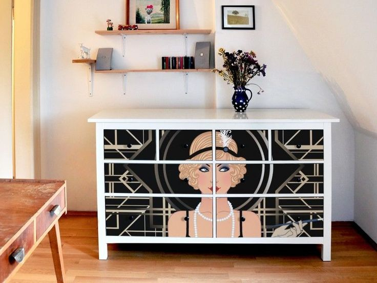 Design Möbelaufkleber Für Ikea Hemnes Schrank Mit Motiv Flapper Girl  Möbeltattoo