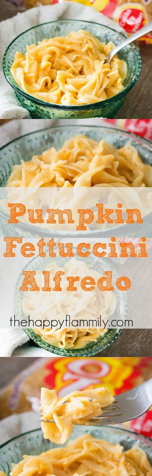 This pumpkin fettuccini alfredo is made with NO Yolks Broad Egg Noodles and is a perfect quick and easy fall meal that incorporates everyones favorite fall pumpkin flavor!