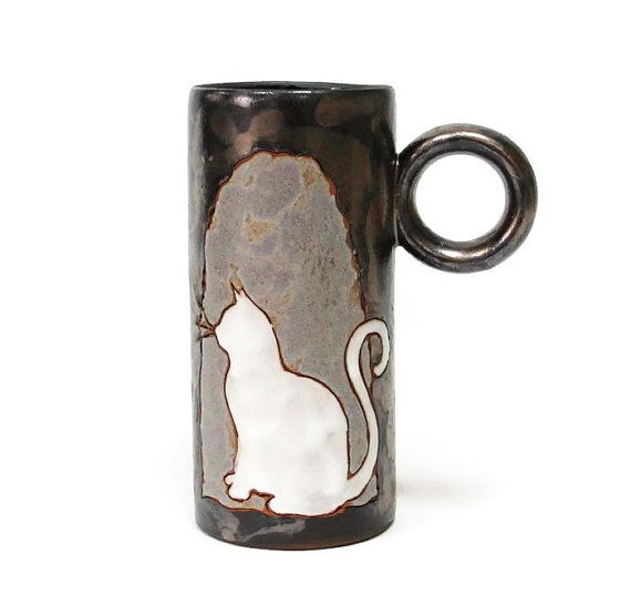 Cat Mug Silhouette Coffee Mug Ceramic Cup by MMceramicdesign