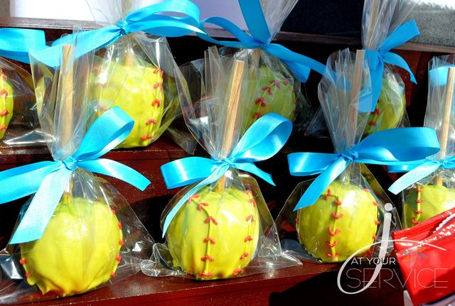 Maybe white chocolate covered apples? To look like a baseball