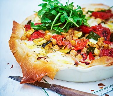 Filo pastry vegetable quiche. Substitute lots of vegetables for other ones!