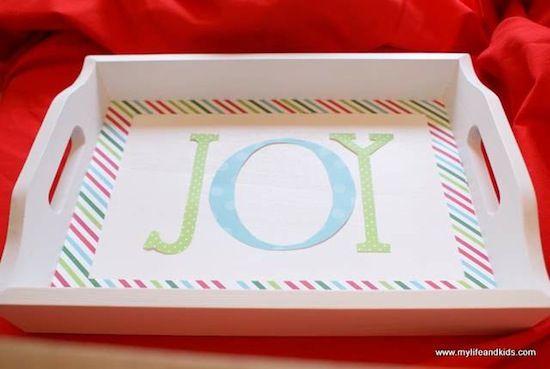 Joyful Mod Podge holiday tray