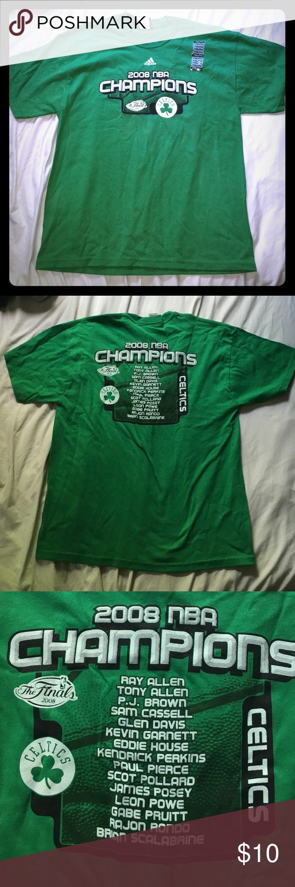 Youth XL Celtics NBA championships shirt NWOT, sticker shows it has never been worn or washed. This is child sized!!! Youth XL. Could fit a women's small or medium comfortably. adidas Shirts & Tops Tees - Short Sleeve