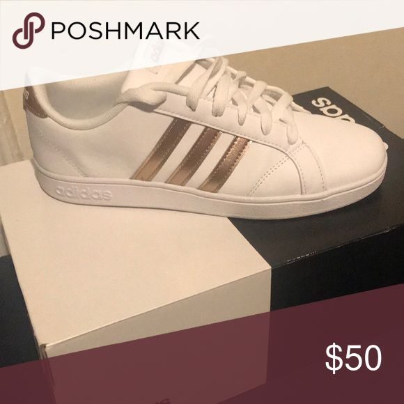 Adidas Baseline k sneakers Rose gold and white sneakers kids size 5 1 2  will fit a women s size 7 - 7 1 2 if you don t have a wide foo… 74722ff732a97