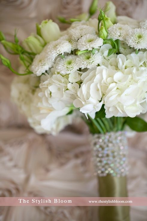 White Hydrangea + White Lisianthus Buds + White Chrysanthemums Wedding Bouquet
