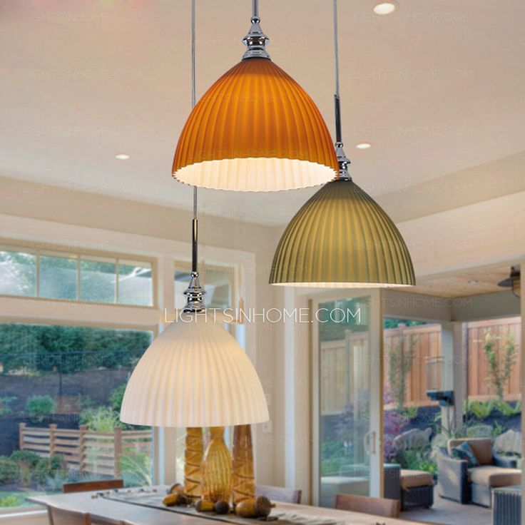 The pendant lights consist of the silver circular ceiling plate, multi-color glass shade and E27 screw base. Orange, green and white glass shade protects the bulbs totally, under the electroplated finish, keeps light soft and mild. Silver circular ceiling plate suffers much pressure from the glass shade, prevents surface from rust.