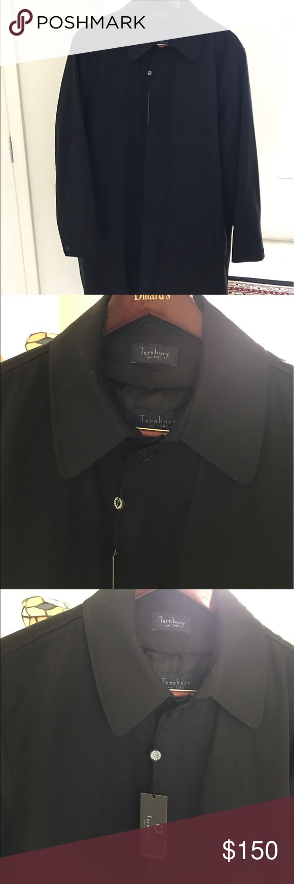 Turnbury men's raincoat trench coat BRAND NEW WITH TAGS. Men's trench rain coat with internal removable wool liner. Has pockets with and without zippers on the inside for belongings. Dad bought this and never wore it because he lost a few pounds now it's too large on him. Water resistant. turnburry Jackets & Coats Trench Coats