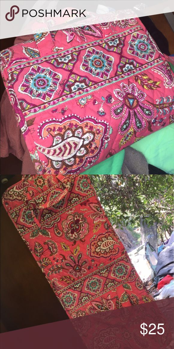 Vera Bradley toiletry hanging cosmetic bag Has several zippered pockets and a hook to hang up with. Rolls up Vera Bradley Bags