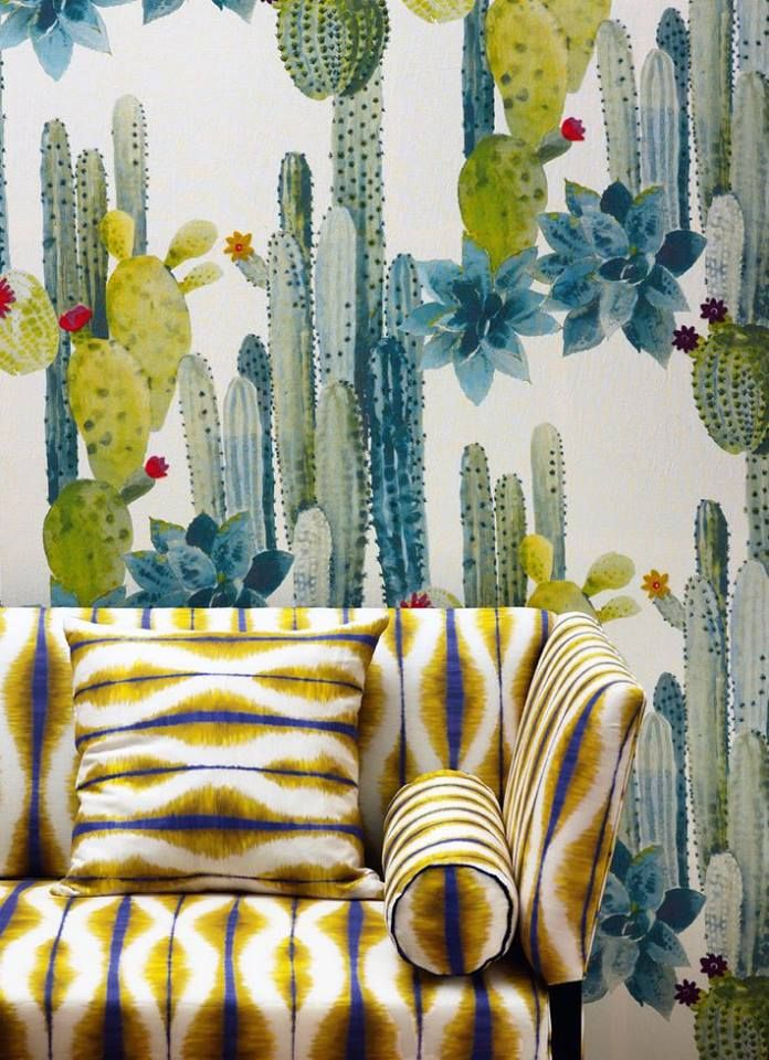 Cactus patterned wallpaper and coordinating uphosltery - Pierre Frey Maya collection