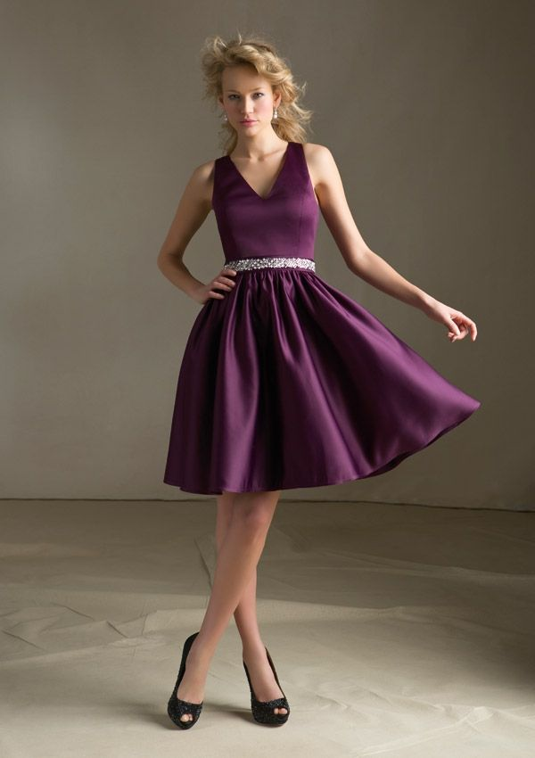 Bridesmaids Dress  31012 Satin with Keyhole Back