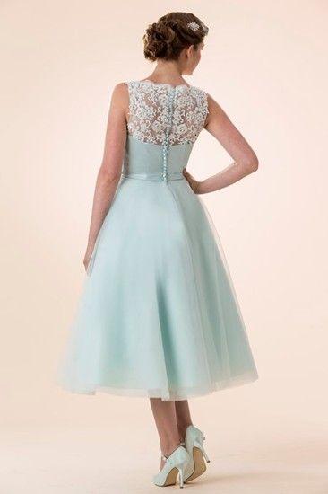 Vintage Petite Lace Detailling Tea Length Short Mint Blue Organza Dress