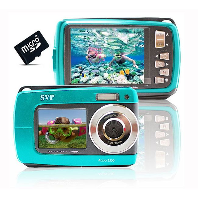 SVP Aqua 5500 18MP Dual Screen Waterproof Camera with Micro 16GB