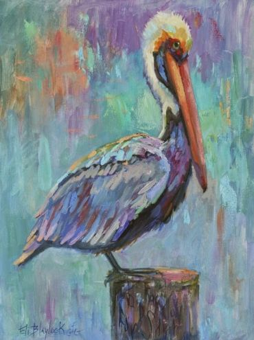 PAINTED PELICAN, painting by artist Elizabeth Blaylock  (I especially love the colors. Background is great with subtle textures)