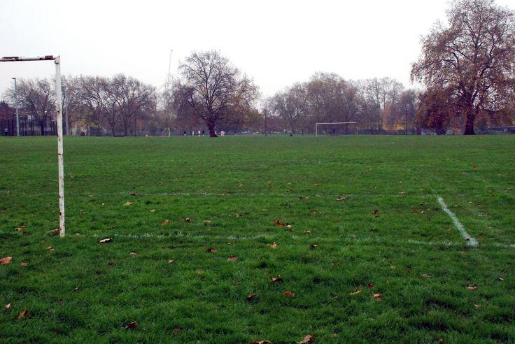 https://flic.kr/p/q5uGC1   Hackney_Downs_Soccer_Pitch_1115   Goal posts. Hackney Downs Park, London (2014).