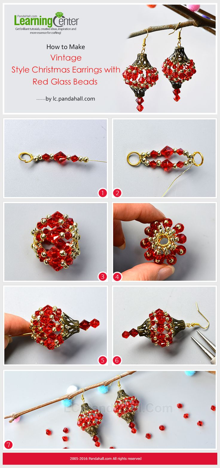 How to Make Vintage Style Christmas Earrings with Red Glass Beads from LC.Pandahall.com