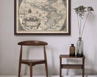 Antike Weltkarte 1636 alte Weltkarte alte Karte von CooltPrintsCo