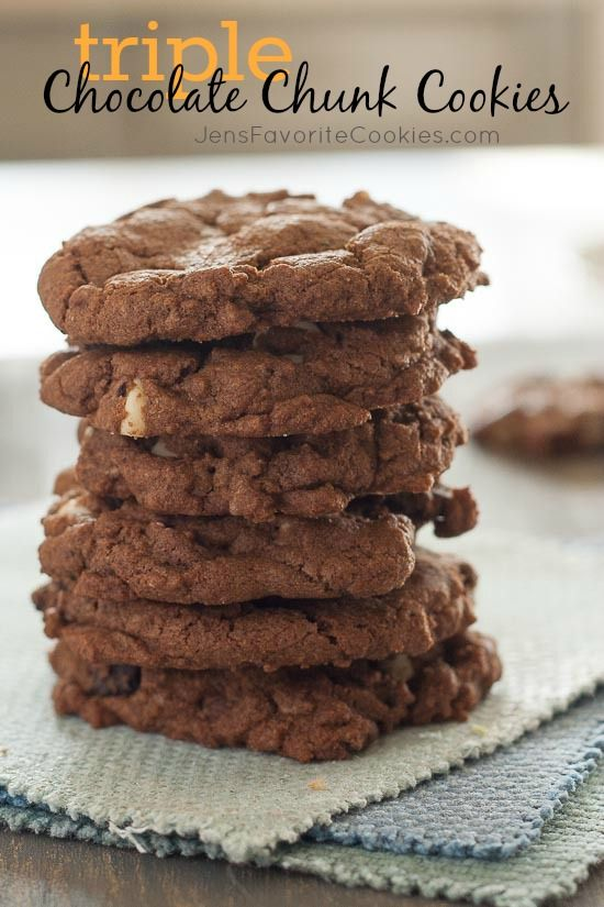 Triple Chocolate Chunk Cookies from JensFavoriteCookies.com - a chocolate lovers dream come true!