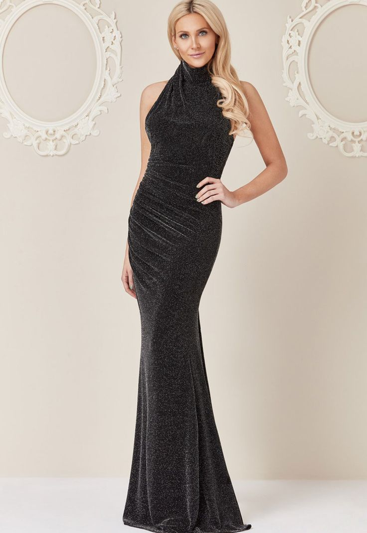STEPHANIE PRATT FOR GODDIVA Stephanie Pratt Halter Neck Glitter Maxi Dress in Black £75.00