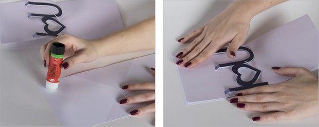 Schritt 5: Die vorbereitetete Vorlage in die Valentinstagskarte einkleben