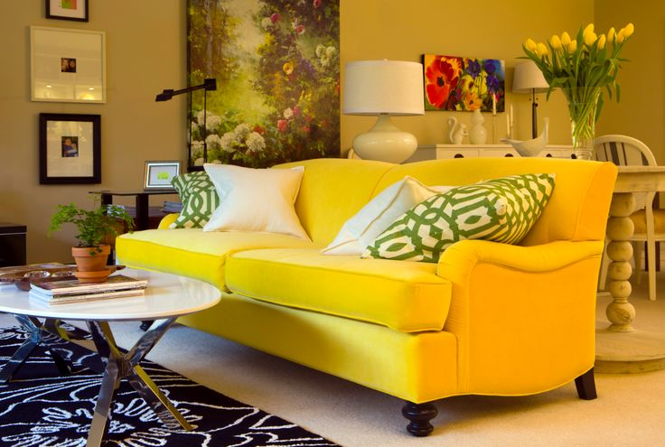 Sunflower Yellow Sofa with Imperial Trellis toss pillows