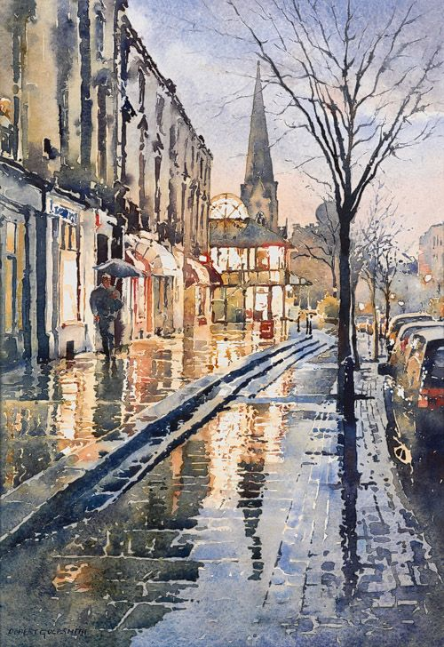 Robert Goldsmith ~ Cheltenham (Montpellier) in the Rain (watercolour)