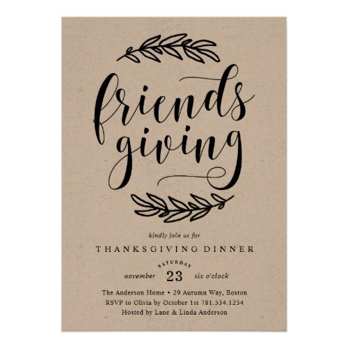 3451 best popular thanksgiving invitations images on pinterest rustic friends giving dinner invitation stopboris Images
