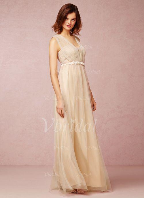 Bridesmaid Dresses - $113.85 - A-Line/Princess V-neck Floor-Length Tulle Bridesmaid Dress With Ruffle Flower(s) (0075059681)