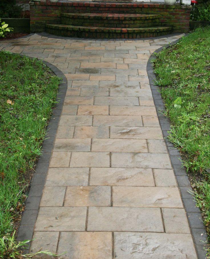 pretty front walk like the gray border - Paver Design Ideas