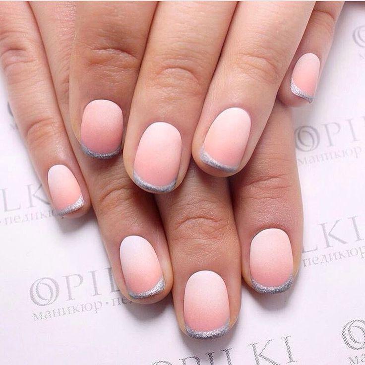 Beautiful nails 2017, Color transition nails, Exquisite nails, Fall nail ideas, Nails ideas 2017, Natural nails, Pastel nails, Pink and silver nails