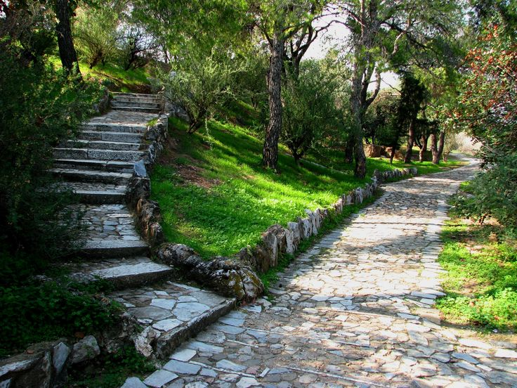 Paths on Hill of Filopappos, Athens, Greece
