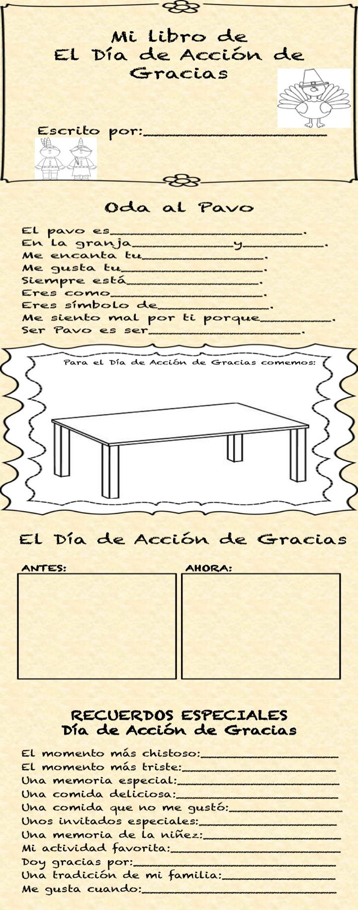 Dia de Accion de Gracias Libro-Have students create their own book about…