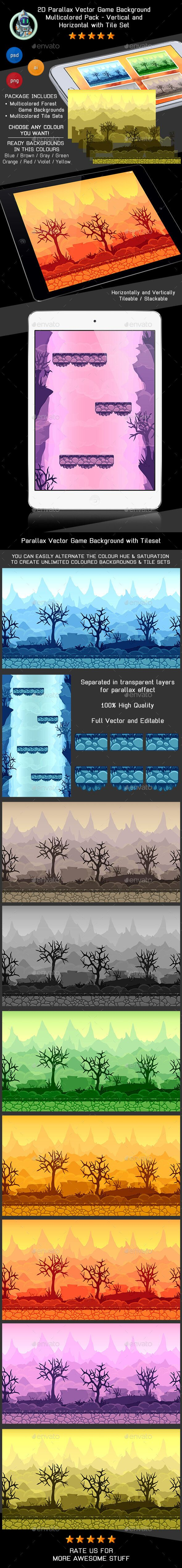 Parallax Vector Game Background with Tileset - Vertical & Horizontal - Backgrounds Game Assets