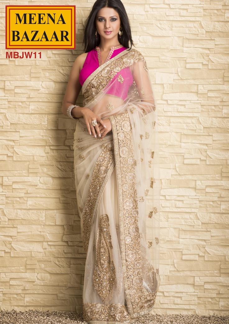 MBJW11 Zari Embroidery Saree on Nett Fabric