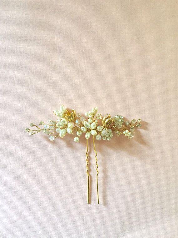 Anarkali  Bridal Hair Pin Gold Ivory wedding by amuandpri on Etsy