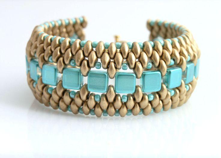 Superduo and czech tile beads bracelet