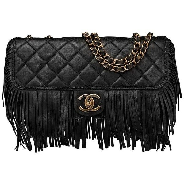 Preowned Chanel Black Quilted Nubuck Calfskin Paris/dallas Fringe Flap... ($3,800) ❤ liked on Polyvore featuring bags, handbags, shoulder strap handbags, zipper handbags, grommet handbags, pre owned handbag and pocket purse