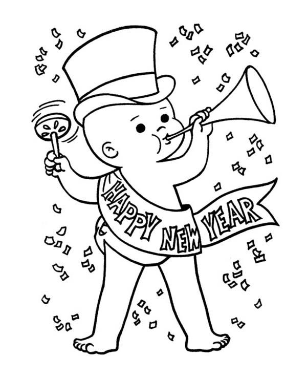 New Year Baby In Action On Years Eve Coloring Page