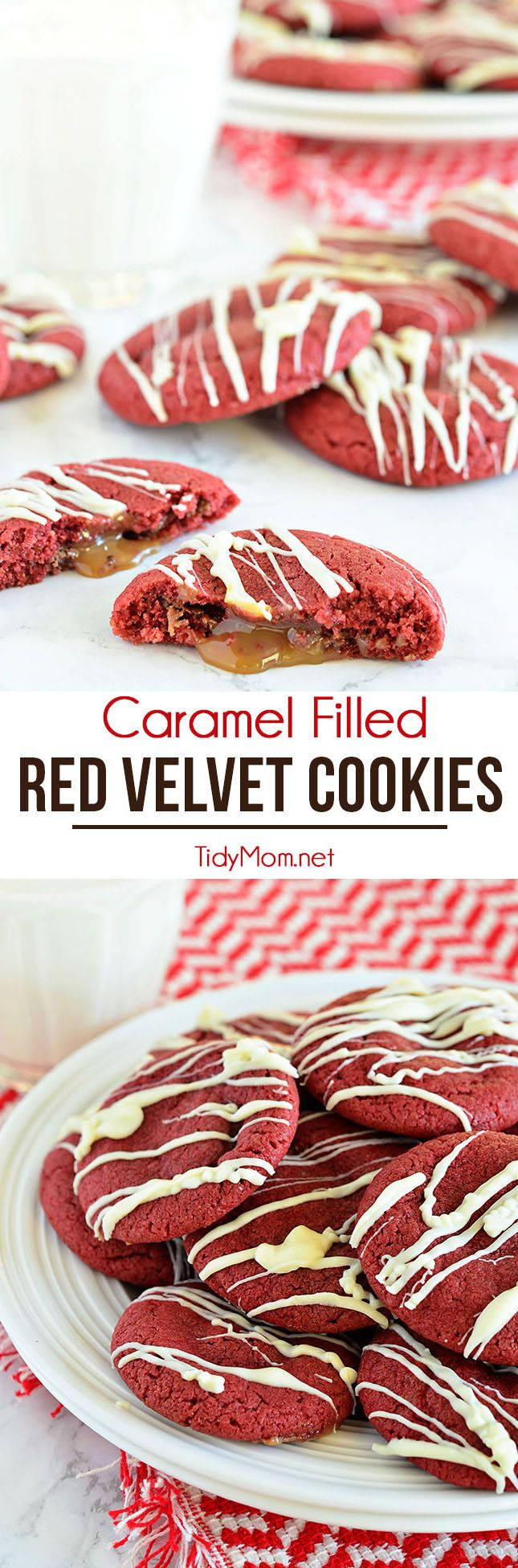 Your favorite sugar cookie dough is quickly transformed into gorgeous red velvet cookies stuffed with a caramel surprise and topped with a drizzle of white chocolate. Easy Caramel Filled Red Velvet Cookies recipe at TidyMom.net