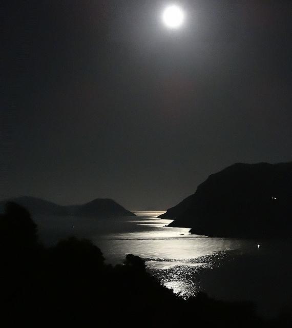Moonlight over Skopelos bay by theoldsmithy, via Flickr