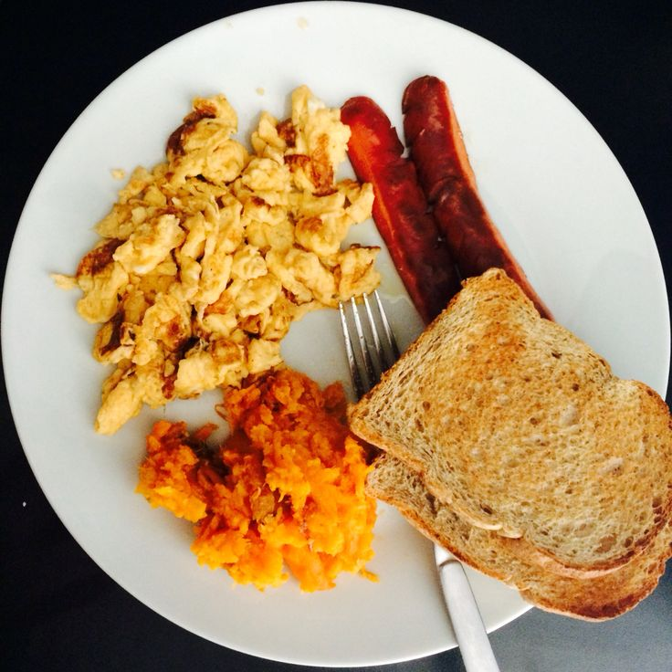 My very own English Breakfast: mashed sweet potatoes, sausages, scrambled eggs, and 2 toasted wheat breads :) #englishbreakfast
