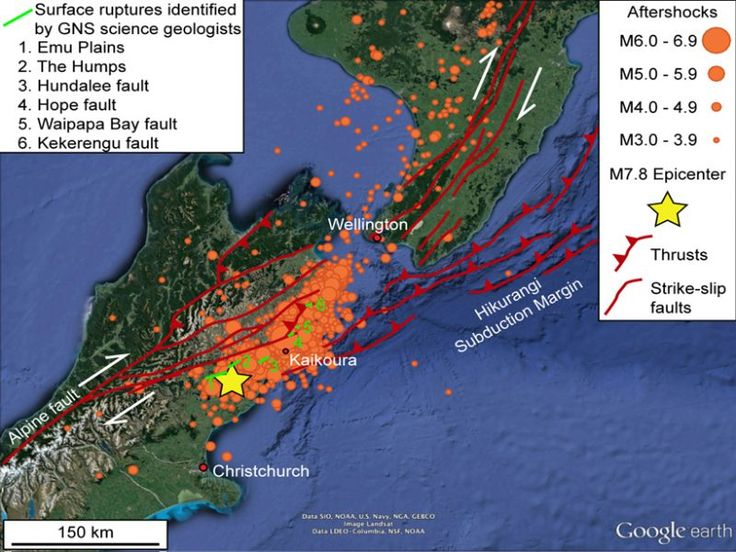 Map showing location of the M7.8 epicenter (star), M > 3.0 aftershocks up until 04:20 New Zealand time on the 18th November (n = 1,782).