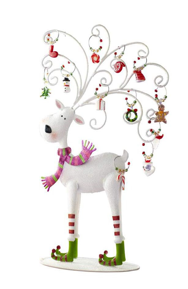 So cute!!!  Pier 1 Reindeer Wine Charm Set reins in holiday cheer