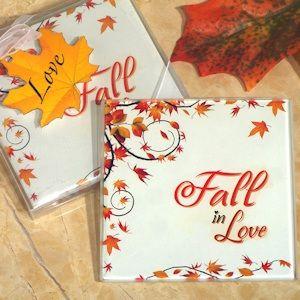 Fall in Love Glass Coasters