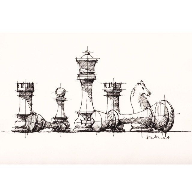 #chess pieces #sketch #drawing | by Dan Hogman