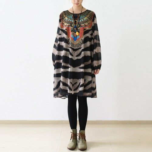 2017 spring zebra Indian indigenous inspired dress plus size chiffon blouseThis unique deisgn deserves the best quality texture. The fabric of this article is soft, comfortable and breathy.Flattering cut. Makes you look slimmer and matches easlily with jeans, leggings stylish pants or skirts. Measurement: One Size:   length 94cm / 36.66