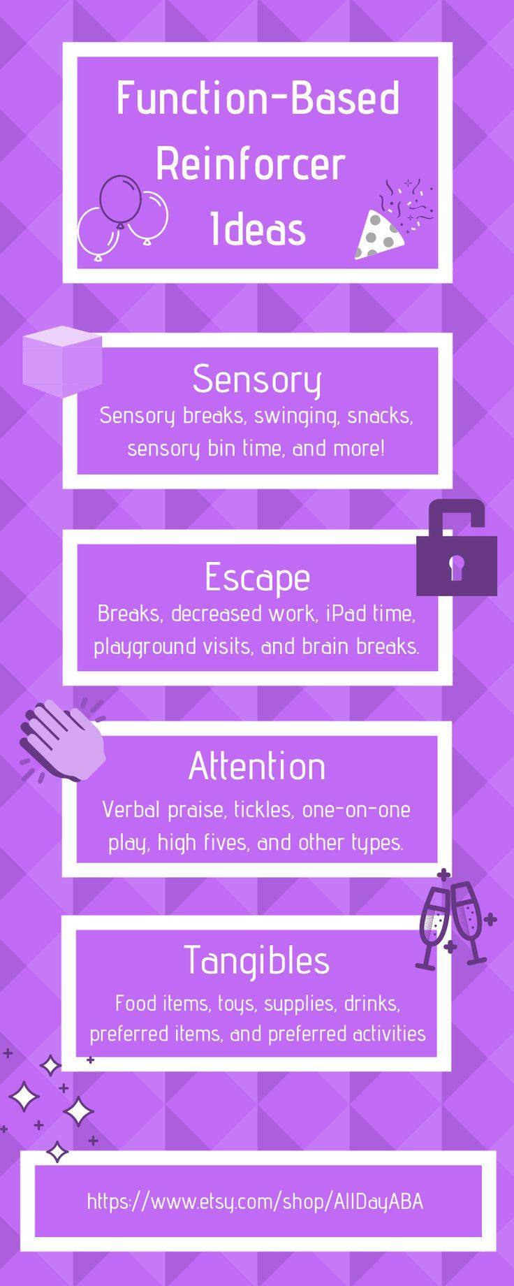 Reinforcer Ideas For Each Function Of Behavior Sensory Escape Attention And Tangibles If You Or S Aba Therapy For Autism Behavior Analysis Verbal Behavior