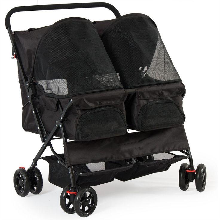 Twin Pet Stroller 4Wheel Dual Carrier Folding Cart Travel