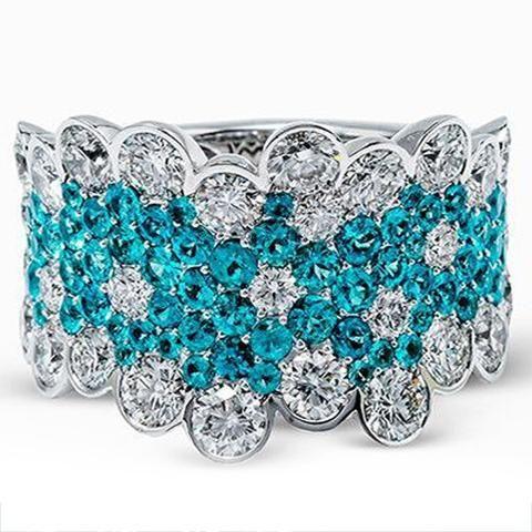 Simon G. 18K White Gold Blue Paraiba Tourmaline and Diamond Cluster Ring