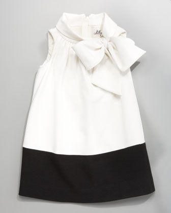 Milly Minis Riley Double-Breasted Coat & Ecru Hallie Bow-Neck Dress - Neiman Marcus