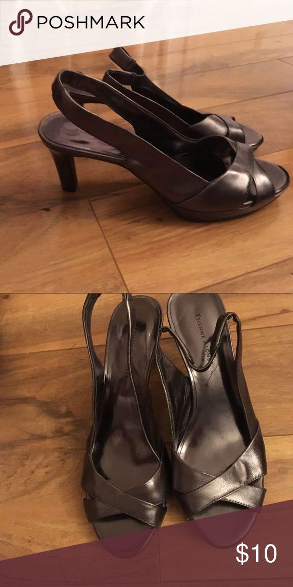 Metallic sling back heels Worn once. Etienne Aigner Shoes Heels
